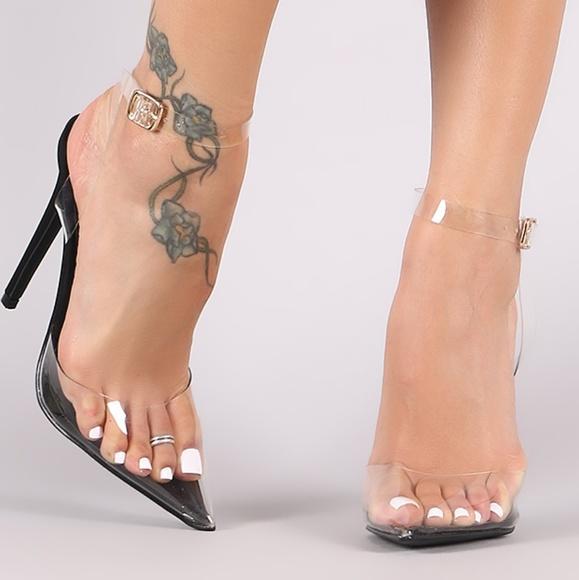 Shoe Republic La Black Clear Pointed